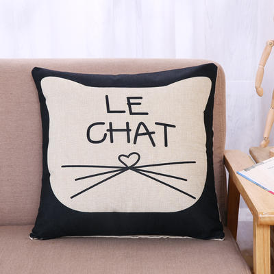 棉麻抱枕-小猫系列 45x45cm H4