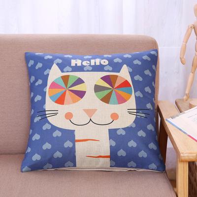 棉麻抱枕-小猫系列 45x45cm H5