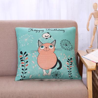 棉麻抱枕-小猫系列 45x45cm H7