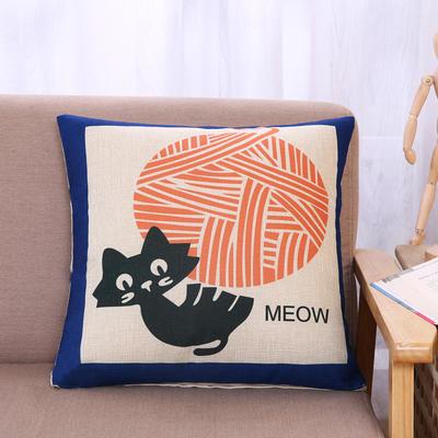棉麻抱枕-小猫系列 45x45cm H8