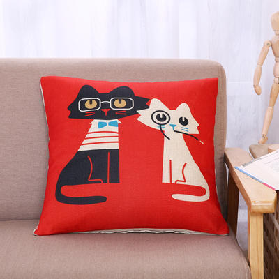 棉麻抱枕-小猫系列 45x45cm H9