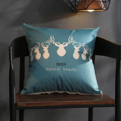 棉麻抱枕-蓝色鹿系列 45x45cm Q7