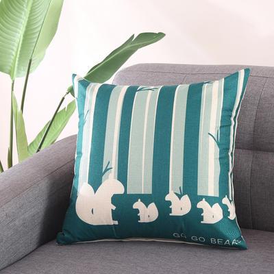 棉麻抱枕-蓝色动物系列 45x45cm T2