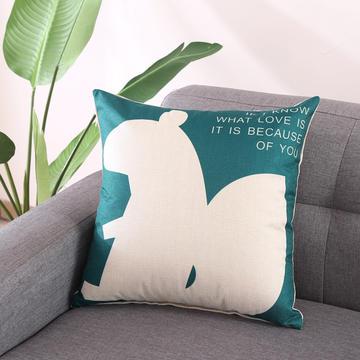 棉麻抱枕-蓝色动物系列