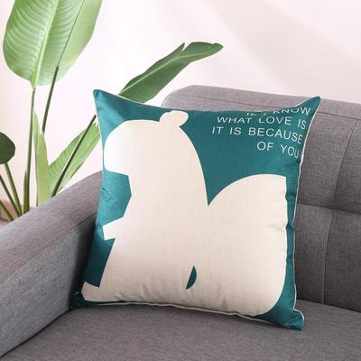 棉麻抱枕-蓝色动物系列 45x45cm T5