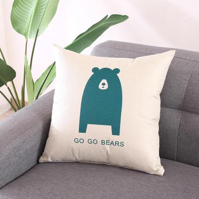 棉麻抱枕-蓝色动物系列 45x45cm T7
