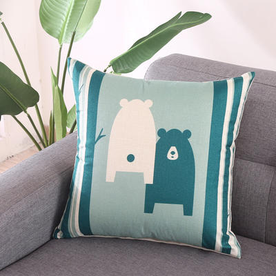 棉麻抱枕-蓝色动物系列 45x45cm T8