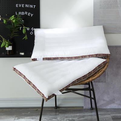 2019新款全棉立体薄款色织绣护颈枕芯 48x74cm 白色/只