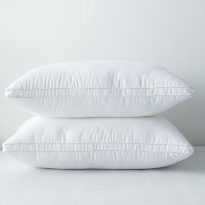 2019新款全棉貢緞立體白色羽絲絨枕芯 白色48*74cm低枕