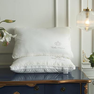 2019新款全棉貢緞蕾絲花邊(儀征)純絲絨枕芯 48*74cm