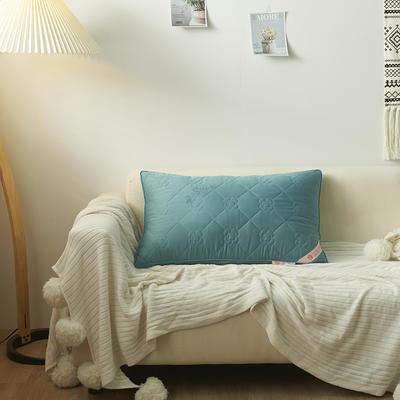 2020新款全棉玫瑰香羽丝绒枕头枕芯48*74cm/只 蓝色