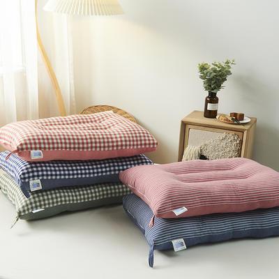 2020新款全棉水洗护颈枕头枕芯 粉色格子30*50cm