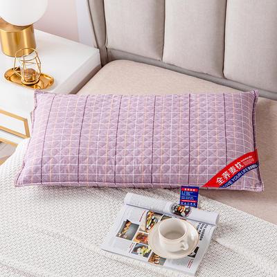 2021新款全棉绗缝英伦风全荞麦枕头枕芯 48*74粉豆沙