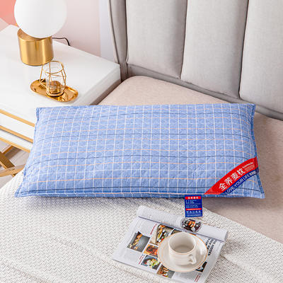 2021新款全棉绗缝英伦风全荞麦枕头枕芯 48*74天空蓝