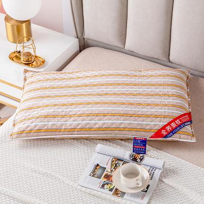 2021新款全棉绗缝英伦风全荞麦枕头枕芯 48*74香槟金