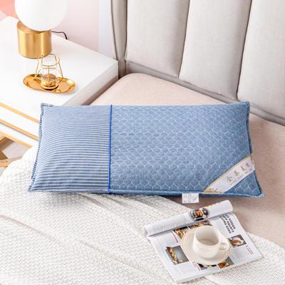 2021新款全棉水洗绗缝可拆卸全荞麦枕头枕芯 48*74蓝色