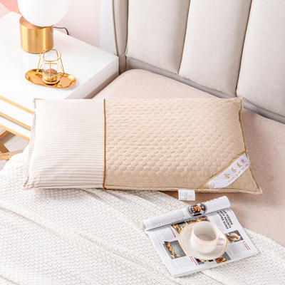2021新款全棉水洗绗缝可拆卸全荞麦枕头枕芯 48*74驼色