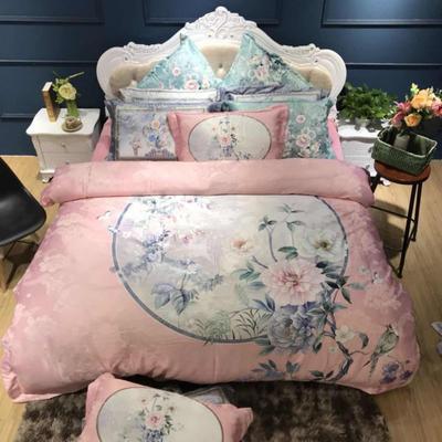2019新款-欧式美数码印花+宝宝绒四件套(棉加绒) 1.5m(5英尺)床 镜里观花粉