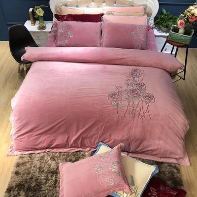 2019新款-宝宝绒绒布绣花四件套 1.5m(5英尺)床 影格-粉红