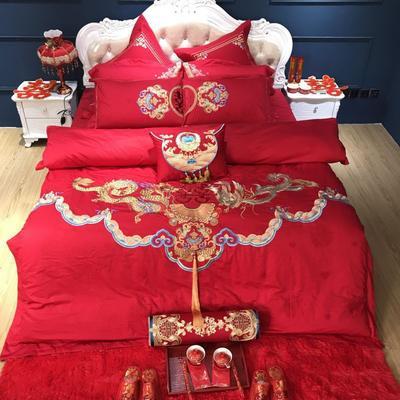 2019新款婚庆刺绣系列四件套 夹棉绗绣靠垫/对(60*60cm) 龙凤呈祥