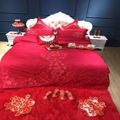 2019新款婚庆刺绣系列四件套 夹棉绗绣靠垫/对(60*60cm) 相依