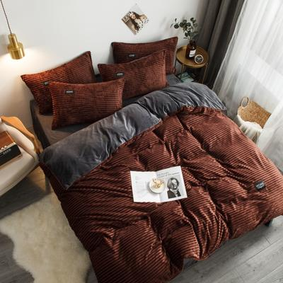 2019新款加厚魔法绒水晶绒法莱绒法兰绒天鹅绒宝宝绒魔幻绒兔兔绒四件套 1.2m(4英尺)床 巧克力棕