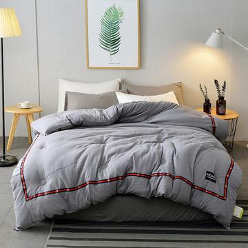 奥帛家纺 2019新款水洗棉织带夏被 1.5m床3斤 浪漫 灰