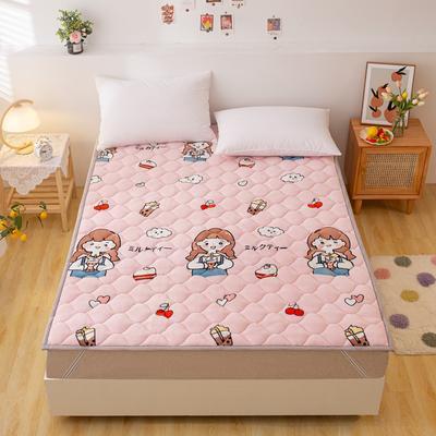 2021可定做加厚牛奶绒夹棉床垫 防滑床褥可机洗褥子冬季保暖床护垫爬爬垫 120*200cm 直角包边-快乐女孩