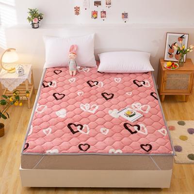 2021可定做加厚牛奶绒夹棉床垫 防滑床褥可机洗褥子冬季保暖床护垫爬爬垫 120*200cm 直角包边-甜蜜爱心