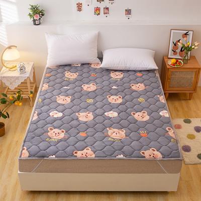 2021可定做加厚牛奶绒夹棉床垫 防滑床褥可机洗褥子冬季保暖床护垫爬爬垫 120*200cm 直角包边-顽皮熊