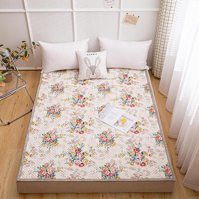 2021新款宽包边13372全棉韩国软床垫床褥 120*200cm 璎珞-红
