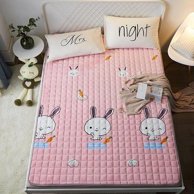 2021可定做加厚牛奶绒夹棉床垫 防滑床褥可机洗褥子冬季保暖床护垫爬爬垫 120*200cm 圆角包边-可爱兔
