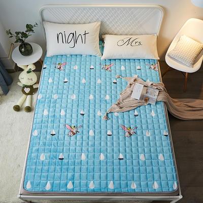 2021可定做加厚牛奶绒夹棉床垫 防滑床褥可机洗褥子冬季保暖床护垫爬爬垫 120*200cm 圆角包边-小飞象