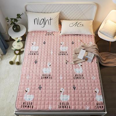 2021可定做加厚牛奶绒夹棉床垫 防滑床褥可机洗褥子冬季保暖床护垫爬爬垫 120*200cm 圆角包边-小天鹅
