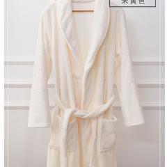 保暖法兰绒精品浴袍睡衣 均码 米白色