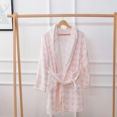 保暖法兰绒精品浴袍睡衣 均码 粉圈圈