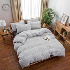 2018新款天竺针织棉四件套 1.2m床(床笠三件套) 白黑细条