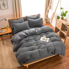 2018新款天竺针织棉四件套 1.2m床(床笠三件套) 黑白细条