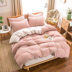 2018新款天竺针织棉四件套 1.2m床(床笠三件套) 棕红中条