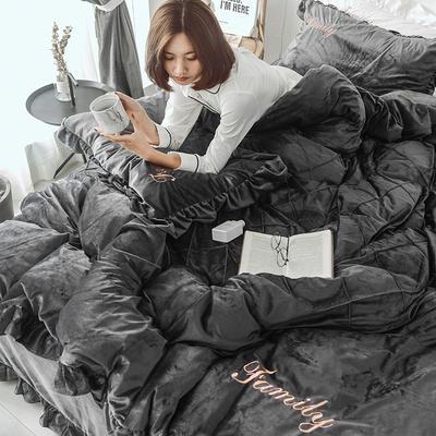2019秋冬新款水晶绒刺绣款四件套 1.2m床(三件套) 想你的夜-深灰