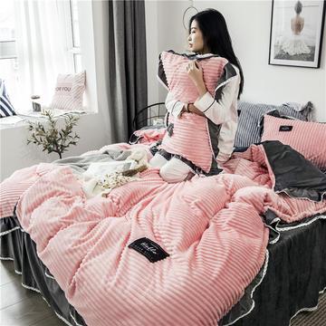 2018秋冬新品魔法绒四件套 标准1.5m-1.8m床 床单款 Magic-粉灰色