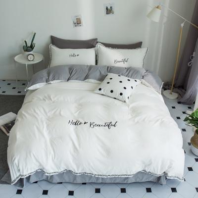 2019水洗棉小清新四件套 1.2m(4英尺)床 白灰
