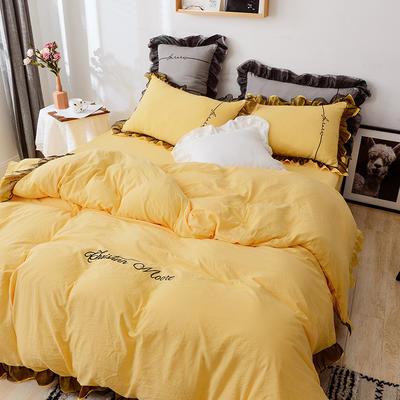 2019新款韩版公主风蕾丝刺绣四件套 0.9/1.2m床三件套 柠檬黄