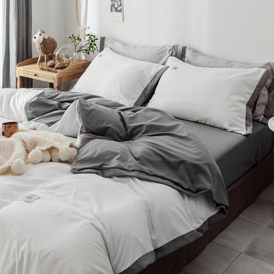 2019新款寬邊水洗棉四件套 0.9/1.2m床三件套 白灰色