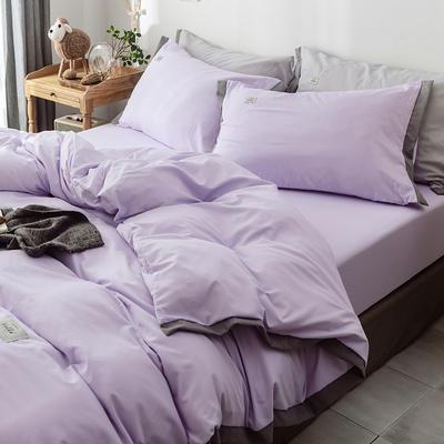 2019新款宽边水洗棉四件套 0.9/1.2m床三件套 紫罗兰