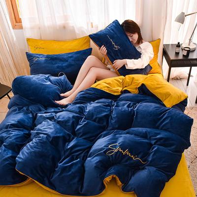 2019新款水晶絨滾邊刺繡四件套 0.9m床單款三件套 寶藍