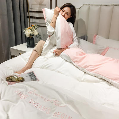 2020新款春夏新款高密度水洗棉寬邊刺繡四件套 0.9m床單款三件套 粉白色