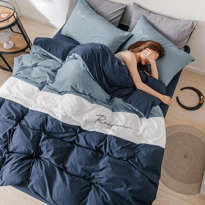 2020新款水洗棉三色系列四件套 1.2m床單款三件套 賓利藍