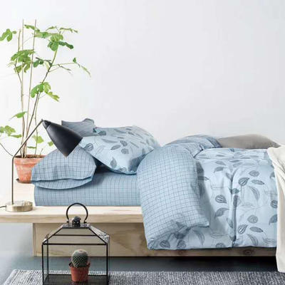 2019新款13372全棉四件套 1.8m(6英尺)床 异情-兰