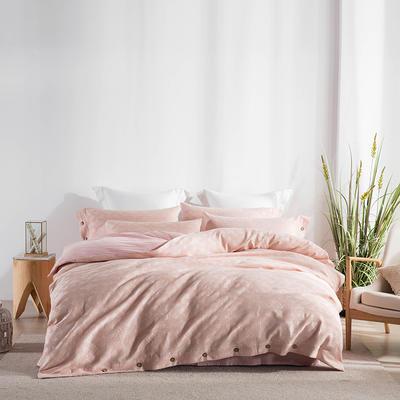 2019新款色紡紐扣工藝款四件套 2.0m(6.6英尺)床單款 曼格印象--粉